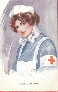 An Angel of Mercy, ca. 1915 ~ Pictures of Nursing: The Zwerdling Postcard Collection. National Library of Medicine Ww1 Art, Radiology Humor, Nurse Photos, Family Nurse Practitioner, Nurse Art, Vintage Nurse, Victorian Art, Nurse Humor, Red Cross