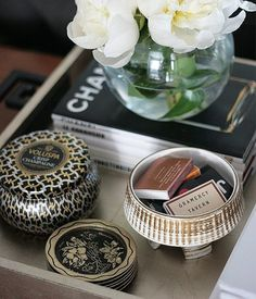 8 Reasons You Can Never Have Too Many Catchalls - Decorative Tray - Ideas of Decorative Tray - Gold silver tray chinois handles styling candle matches peonies!