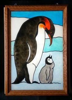 Penguin  Antartica Ice Iceberg Snow North Pole Winter Emperor Penguin Window Art  faux stained glass
