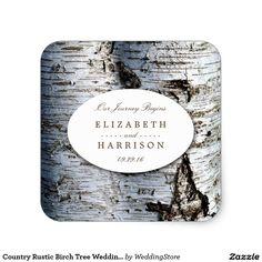 Country Rustic Birch Tree Wedding Favor Square Sticker