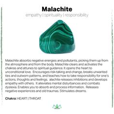The healing properties of malachite Minerals And Gemstones, Crystals Minerals, Natural Gemstones, Crystal Healing Stones, Stones And Crystals, Gem Stones, Healing Rocks, Chakras, Gemstone Properties