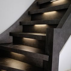 Trendy Stairs Lighting Design Dream Homes Ideas Staircase Design Modern, Luxury Staircase, Concrete Stairs, Wooden Stairs, Iron Stair Railing, Stair Handrail, Stair Lighting, Lighting Design, Family Room Colors