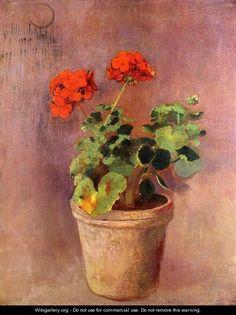 The Pot Of Geraniums - Odilon Redon