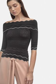 Scalloped Knit Top