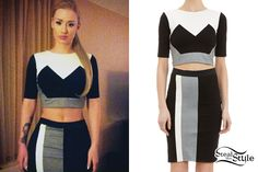 iggy azalea grey skirt red crop top | Iggy Azalea: Colorblock Crop Top & Skirt | Steal Her Style