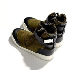Balmain suede, leather & shearling trainers