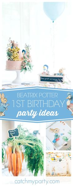 Take a look at this gorgeous Beatrix Potter 1st birthday party! The birthday is incredible!! See more party ideas and share yours at CatchMyParty.com