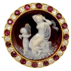 Tiffany & Co. Venus and Cupid Cameo. Red Enameled Venus and Cupid Cameo Ruby Diamond Pin