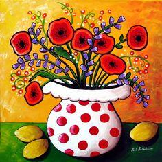 Red Poppies in Polka Dot Vase   Renie Britenbucher