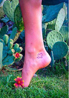 Small Texas Foot Tattoo #TexasLove