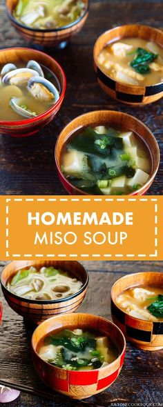 Simple and savory homemade miso soup with dashi stock, detailed recipe instructions on how to cook different types of miso soup.