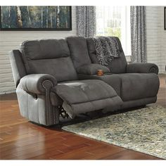 Ashley Furniture Austere Power Reclining Loveseat with Console 3840196 with Dual-sided recliner,One touch power control with adjustable positions,Lift-top storage console and 2 cup holders Loveseat Recliners, Sofa Couch, Couch Set, Power Recliners, Recliner Chairs, Sleeper Sofas, Sectional Sofas, Room Chairs, Living Room Furniture Layout