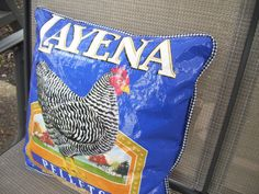 Chicken Feed Bag Pillow by JustaFewThingsIMade on Etsy, $25.00