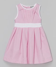 Look at this Pink & White Eyelet Dress - Infant, Toddler & Girls on #zulily today!