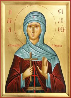 Philothea of Athens (February Patron saint of Athens, Greece. Byzantine Icons, Byzantine Art, Christian World, Christian Art, Catholic Saints, Patron Saints, Russian Icons, Religious Icons, Art Icon