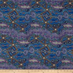 Designed by June Smith for M & S Textiles Australia, this cotton print fabric features an abstract design that reminds us of the night sky. Perfect for quilting, apparel and home decor accents. Colors include white, golden orange, shades of blue and green, lavender, purple, pale yellow, magenta and tan.