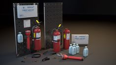 A set of realistic Emergency props aimed to fill in-game environments. Included fire extinguisher, Emergency flashlight, wall first aid kit, disinfectant bot. Game Environment, Zombie Art, Unreal Engine, Fire Extinguisher, 3d Projects, Flashlight, Game Art, Locker Storage, 3d Printing