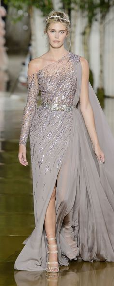 2019 Split Side Formal Evening Dresses With Long Sleeve One Shoulder Sequined Ev. 2019 Split Side Formal Evening Dresses With Long Sleeve One Shoulder Sequined Evening Gowns Sweep Train Chiffon Prom Dress Zuhair Murad - Couture Mode, Style Couture, Couture Fashion, Couture Week, Formal Evening Dresses, Evening Gowns, Prom Dresses, Dress Formal, Formal Gowns
