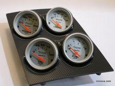 1968-1974 Nova Console Carbon Fiber Finish Quad Pod with AutoMeter Ultra Lite Electric Gauge.