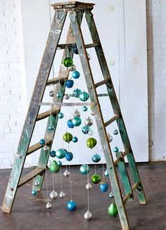 rustic christmas tree Inspiration Station - Fun and Funky Ladder Christmas Tree Fun and Funky Christmas Tree inspiration using a vintage wooden ladder from Paisley and Jade at Highpoint and Moore Ladder Christmas Tree, Creative Christmas Trees, Christmas Village Display, Wooden Christmas Trees, Christmas Tree Themes, Simple Christmas, Christmas Traditions, Christmas Diy, Rustic Christmas