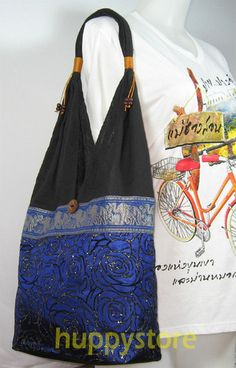 BLUE ROSE EMBROIDERY ETHNIC HILL TRIBAL SHOULDER TOTE BAG WITH ELEPHANT DESIGN. $14.60.