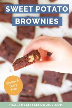 Sweetened with mashed sweet potato and dates, these Sweet Potato Brownies are a delicious treat for kids or adults. Healthy Toddler Snacks, Healthy Meals For Kids, Healthy Treats, Healthy Desserts, Yummy Treats, Toddler Food, Kids Meals, Healthy Food, Desserts With Dates