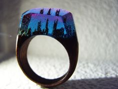 """Walnut ring """"Aurora borealis"""". Womens wood ring. Wood ring resin. Wooden fashion jewelry. In stock 8.5 size by GeppettoManufactory on Etsy"""