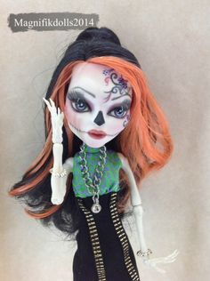 OOAK Custom Monster High Repaint Doll Skelita Calaveras