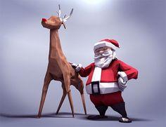 Rigged Low Poly Santa & Rudolph – demafleez
