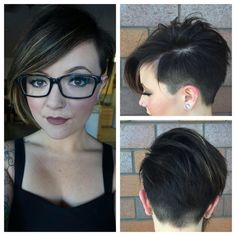 Went much shorter on the lovely @littlemonster.makeup today! #shorthair #shavedside #shortstyle #shorthaircut #haircut #hairstyle #undercut #nape #chickfade #clippercut @zimbalisalonspa                                                                                                                                                                                 Mais