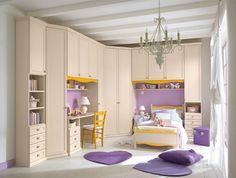 Purple and gold offer a sense of regal design to this transitional girls room Girl Bedroom Walls, Girl Bedroom Designs, Bedroom Decor, Bedroom Ideas, Discount Bedroom Furniture, Kids Bedroom Furniture, Modern Kids Bedroom, Childrens Bedroom, Regal Design