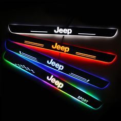 Choose most suitable size LED door sill protector according to the JEEP car model. Different type of JEEP car model have different door sill. Jeep Wranglers, Jeep Xj, Jeep Sport, Jeep Rubicon, Jeep Wrangler Grill, Jeep Wrangler Interior, Wrangler Jl, Accessoires De Jeep Wrangler, Accessoires Jeep