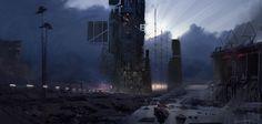 Twilight Refinery, Titus Lunter on ArtStation at https://www.artstation.com/artwork/g5BO8
