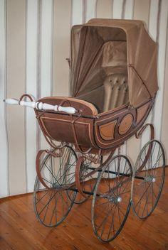 Items similar to Vintage French Wooden Pram circa ( Poussette Landau Ancienne fin XIXe ) on Etsy Pram Toys, Dolls Prams, Silver Cross Prams, Old Cribs, Baby Strollers, Pram Stroller, Vintage Pram, Prams And Pushchairs, Baby Buggy