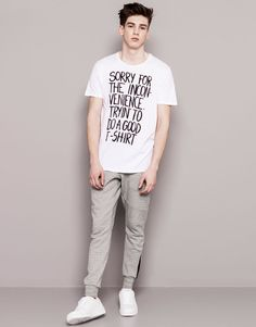 TEXT PRINT T-SHIRT - WHITE
