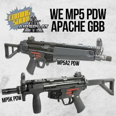 WE MP5 PDW Apache GBB Airsoft Rifles Coming Soon to AirSplat! Which one do you like better? Like, Comment, & Share!  More WE Tech Products: http://www.airsplat.com/WE-Tech-Industries.htm