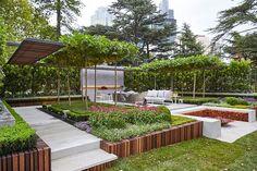 Landscape architect, Nathan Burkett has won the Show Garden Gold Medal at the 2015 Melbourne International Flower and Garden Show. Landscape Structure, Landscape Architecture, Landscape Design, Roof Structure, Architecture Design, Design Jardin, Terrace Design, Modern Landscaping, Garden Landscaping