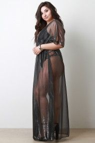 Semi-Sheer Metallic Floor Swept Cover Up Dress | UrbanOG