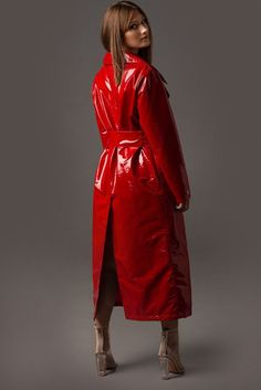 Waterproof and wind resistant. Yellow Trench Coat, Leather Trench Coat, Red Raincoat, Vinyl Raincoat, Plastic Raincoat, Leather Jackets For Sale, Wrap Coat, Celebrity Outfits, Leather