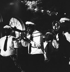 second line, New Orleans wedding, Young Pinstripe Band, black and white film photography, image by Reg Campbell