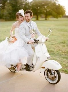 Stylish shot of bride and groom on motorcycle. Love the pastel colors.