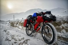 A fully loaded fat bike on a tour towards north Denali. #fatbike #winter