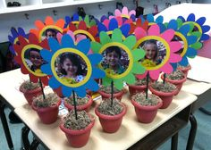 Spring Crafts: Flower Pot Pictures....great gifts for your student's parents!