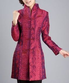 womens silk suit jackets | burgundy Chinese Silk embroider Women's jacket /coat sz:M L XL XXL 3XL ...