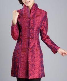 womens silk suit jackets | burgundy Chinese Silk embroider Women's jacket /coat sz:M L XL XXL 3XL ...