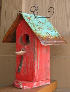 She Rides a Bike: red weathered birdhouse