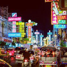 amazing at night market in chinatown,bangkok
