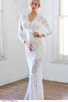 e4c87ed784 Cheap Plunging V Neck Front Tie White Lace Maxi Dress online - All  Products