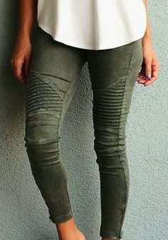 Jean pantalons uni slim élastique poches taille haute casual kaki vert femme  Mode Femmes, Vêtements 78911f3ed409