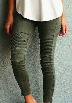 3030752e9f2ca Jean pantalons uni slim élastique poches taille haute casual kaki vert femme  Vetement Sport, Mode